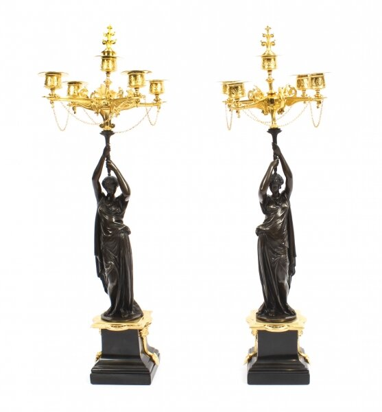 Antique Pair Patinated Bronze Figural Candelabra Jules Salmson 19th C | Ref. no. 09222 | Regent Antiques