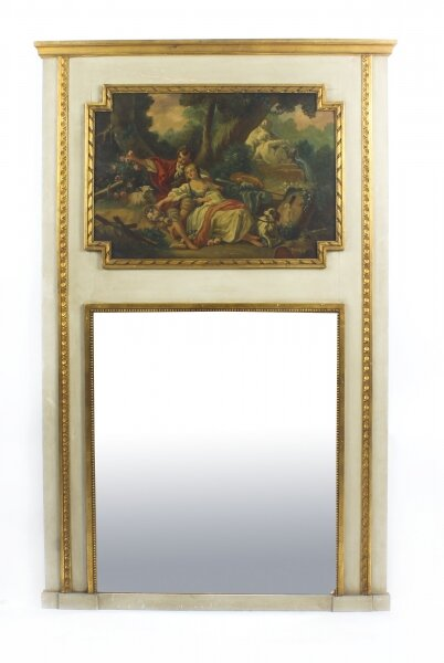 Antique French Painted & Parcel Gilt  Trumeau Mirror Circa  19th C | Ref. no. 09233 | Regent Antiques