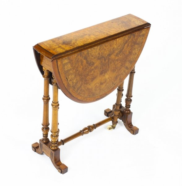 Antique Victorian Small Burr Walnut & Inlaid Sutherland Table c.1870 | Ref. no. 09238 | Regent Antiques