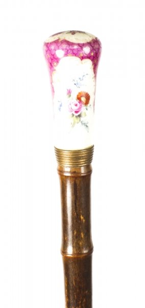 Antique Walking Stick Cane Dresden Porcelain Pommel 19th C | Ref. no. 09242 | Regent Antiques