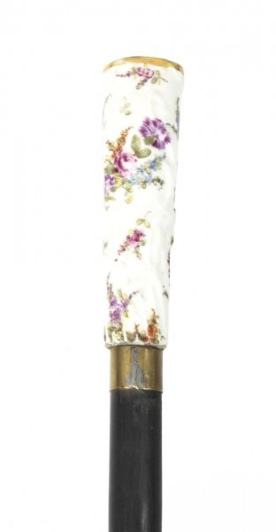 Antique Walking Cane Stick  Dresden Porcelain Handle 19th Century | Ref. no. 09243 | Regent Antiques