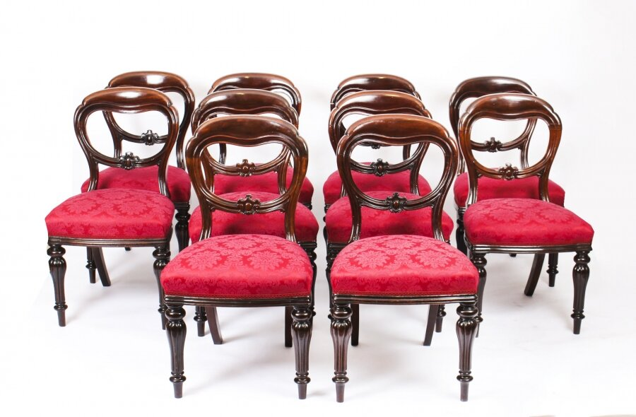 Antique Set 10 Victorian Mahogany Balloon Back Dining Chairs 19th Century | Ref. no. 09271 | Regent Antiques
