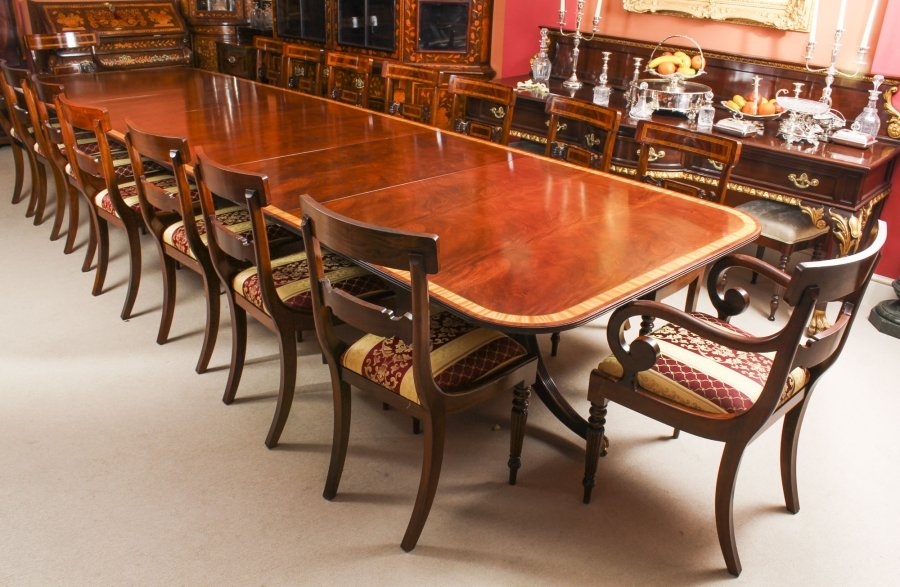 Vintage Arthur Brett Three Pillar Mahogany Dining Table and 14 Chairs 20th C | Ref. no. 09293a | Regent Antiques