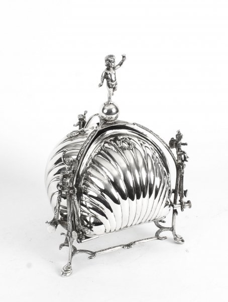 Antique Silver Plated Triple Shell Shaped Sweets Biscuit Box c.1900 | Ref. no. 09297 | Regent Antiques