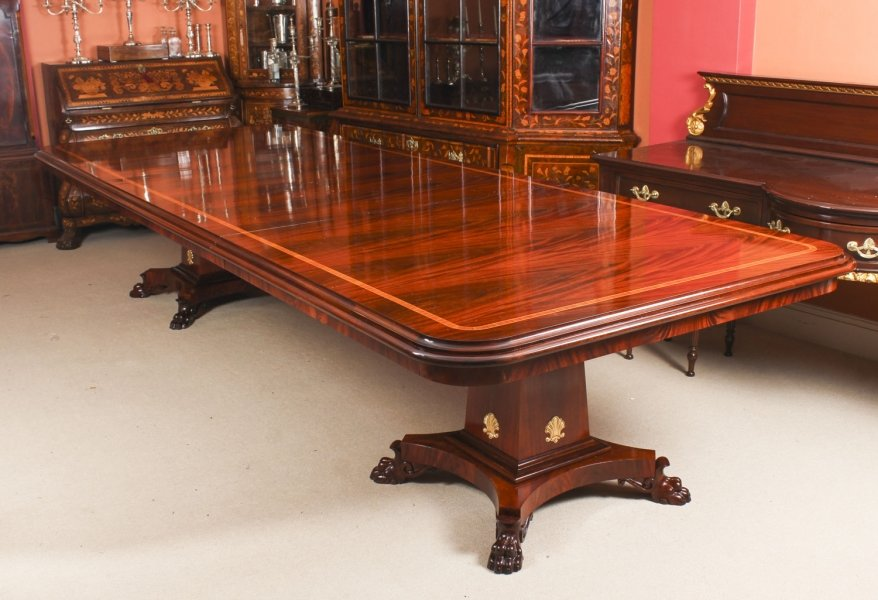 Bespoke Regency Revival 13ft Flame Mahogany Twin Pedestal Dining Table | Ref. no. 09337 | Regent Antiques