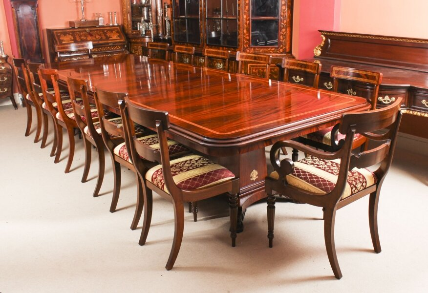 Bespoke Regency Revival Twin Base  Dining Table & 14 chairs  21st C | Ref. no. 09337a | Regent Antiques