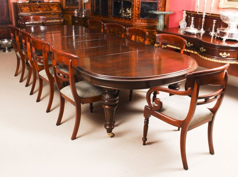 Antique 12ft Victorian D-end Mahogany Dining Table C1870 & 10 chairs | Ref. no. 09344a | Regent Antiques