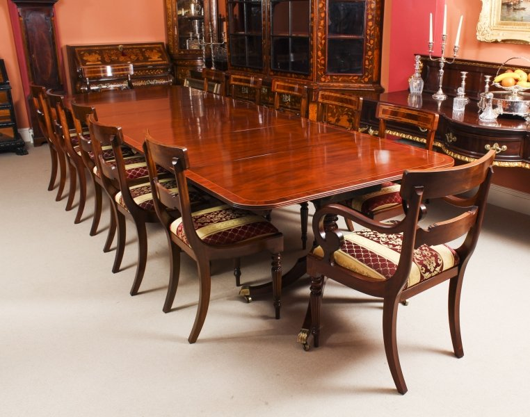 Antique George III Regency  Dining Table 19th C with 12 Bespoke Dining Chairs | Ref. no. 09355a | Regent Antiques