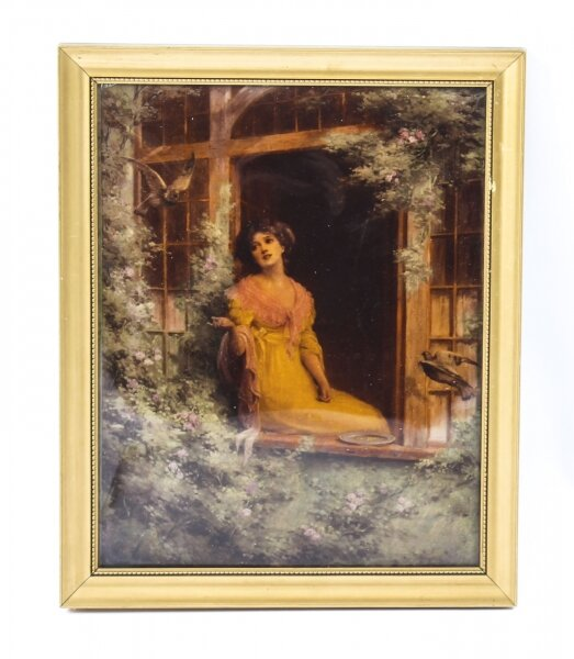 Antique Victorian Crystoleum Picture Painting of a Lady by a Window 19th C | Ref. no. 09372e | Regent Antiques