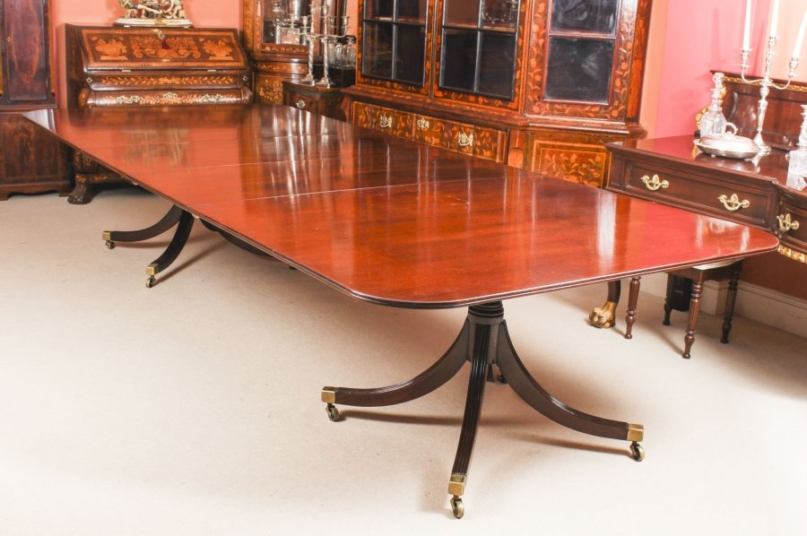 Vintage 12 ft Mahogany Regency Style Twin Pillar Dining Table Mid  20th C | Ref. no. 09392 | Regent Antiques
