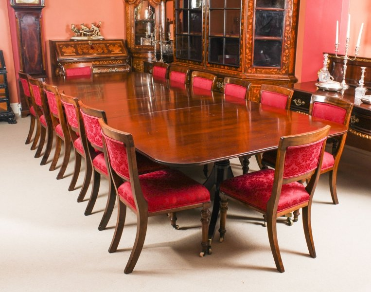 Vintage Twin Pillar  Dining Table Mid 20th C  & 14 Antique Dining Chairs 19th C | Ref. no. 09392a | Regent Antiques