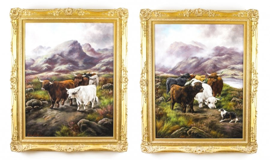 Antique Pair Paintings of Scottish Country Scenes Frank Stafford 19thC 112x92cm | Ref. no. 09405 | Regent Antiques