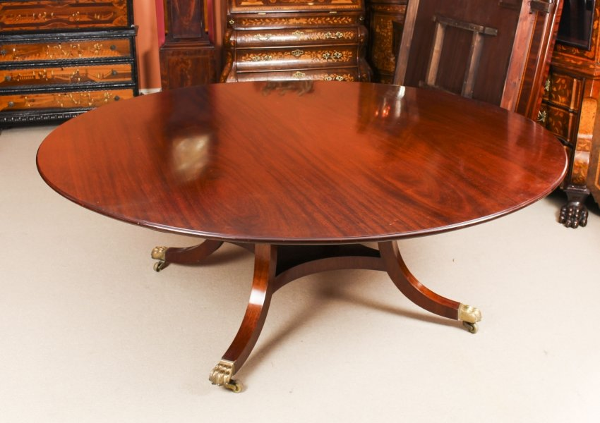 "Vintage 6 ft 6""  Round Mahogany Table by William Tillman 20th Century 
