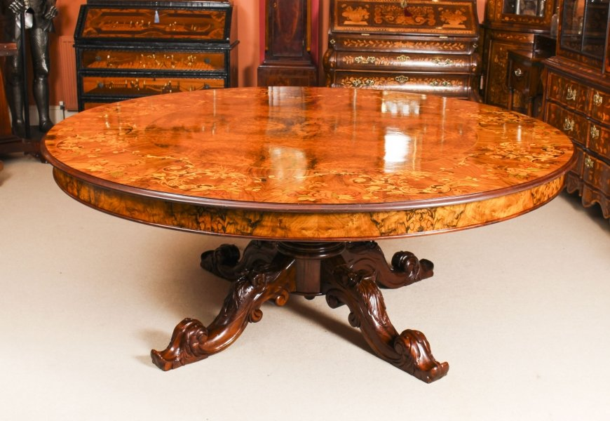 Vintage 6ft 6 inch Diameter Marquetry Dining Table 20th C | Ref. no. 09418 | Regent Antiques