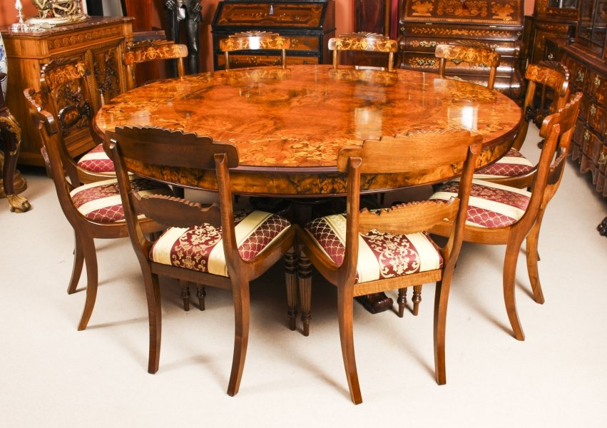Vintage 6ft 6 inch diameter Round Marquetry Dining Table & 10 chairs | Ref. no. 09418a | Regent Antiques