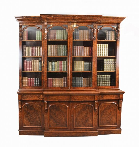 Antique Victorian Burr Walnut Breakfront Bookcase c1850 19th Century | Ref. no. 09419 | Regent Antiques