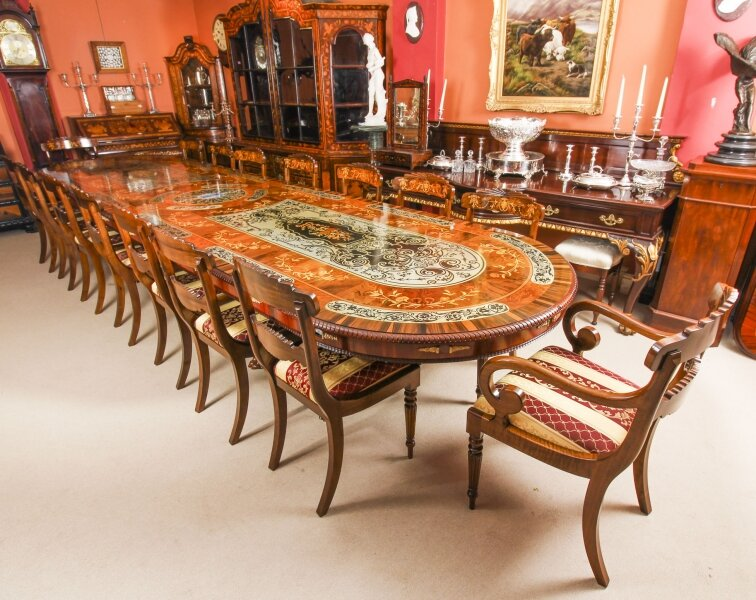 Bespoke 17ft Dining Table, Pewter, Lapis Lazuli & Agate Inlaid & 16 Chairs | Ref. no. 09428a | Regent Antiques