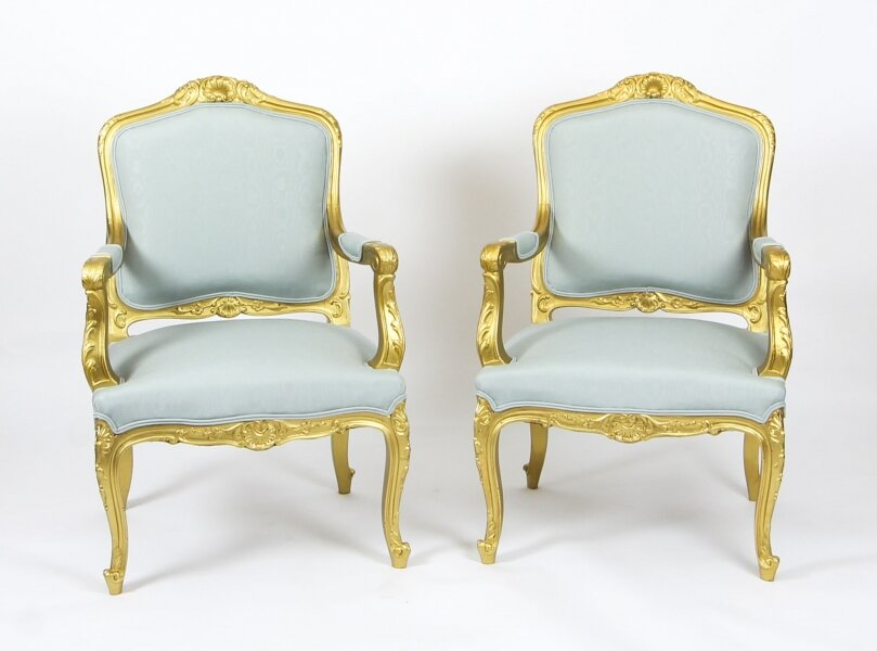 Antique Pair Louis  Revival French Giltwood Armchairs 19th  Century | Ref. no. 09436 | Regent Antiques