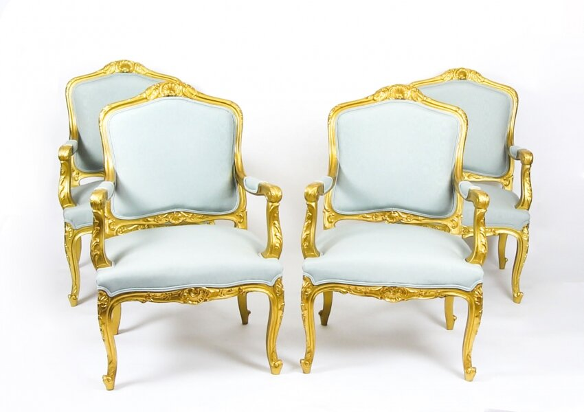 Antique Set of 4  Louis Revival French  Giltwood Armchairs  19th Century | Ref. no. 09436a | Regent Antiques