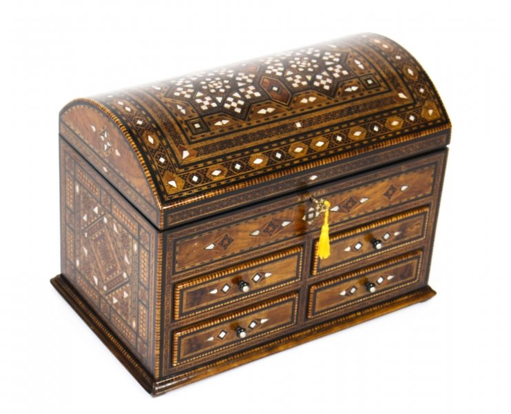 Antique Damascus Mother-of-Pearl and Specimen Wood Inlaid Table Chest 19th C | Ref. no. 09441 | Regent Antiques