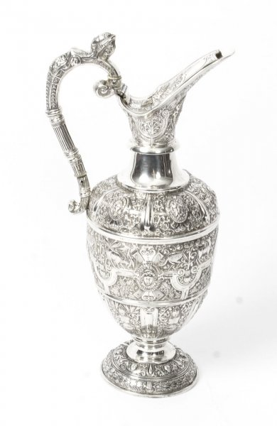 Antique Victorian Silver Cellini Claret Wine Jug Glasgow 1878  19th C | Ref. no. 09444 | Regent Antiques