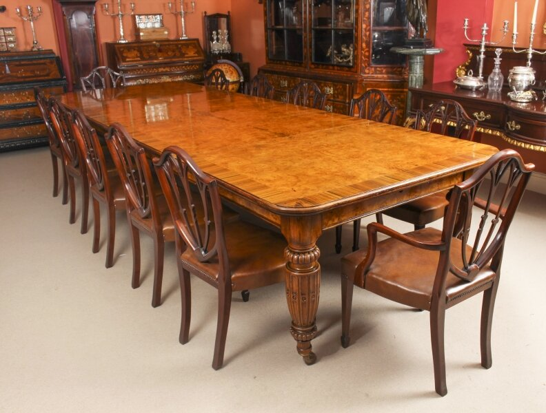 Antique  Pollard Oak Victorian Extending Dining Table & 12 Chairs 19th C | Ref. no. 09448b | Regent Antiques