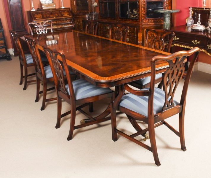 Vintage 10ft Twin Pillar Dining Table & 8 Chairs by Rackstraw 20th C | Ref. no. 09453 | Regent Antiques
