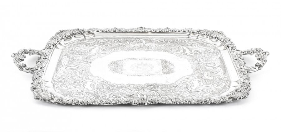 Antique Regency Old Sheffield Silver Plated Tray C 1820 with Cavendo Tutus Crest | Ref. no. 09472 | Regent Antiques