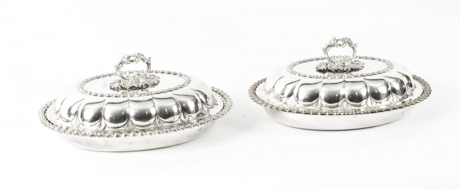 Antique Pair Old Sheffield Plated Entree Dishes Roberts, Smith & Co 19th Century | Ref. no. 09480 | Regent Antiques