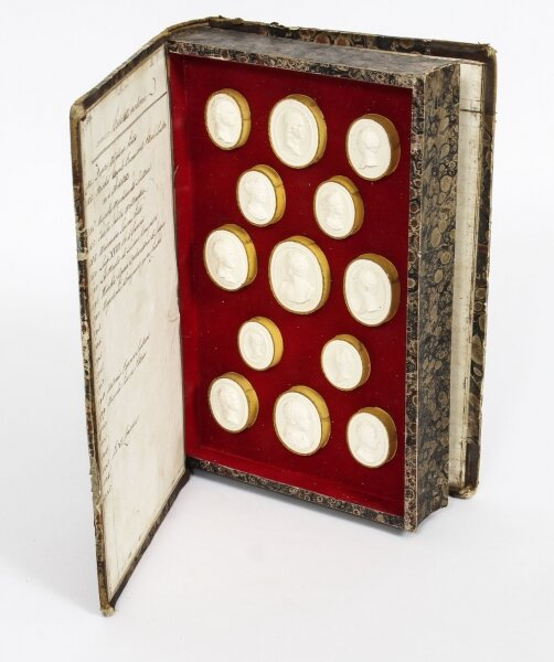 Antique Set 28 Book Framed Plaster Grand Tour Intaglios Portraits 19th C | Ref. no. 09489 | Regent Antiques