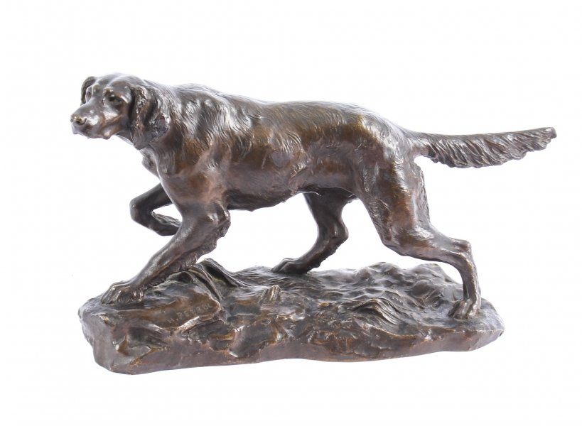 Antique Bronze Sculpture Irish Setter Dog Hunting by H. Peyrol C 19th | Ref. no. 09503 | Regent Antiques