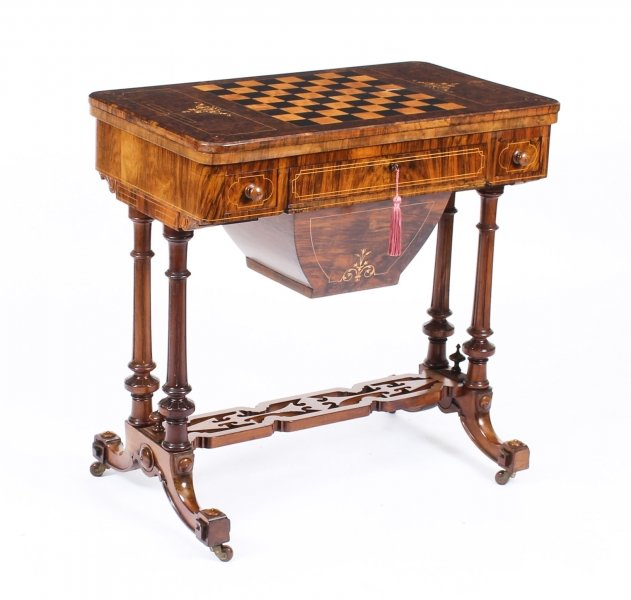 Antique Victorian Burr Walnut & Inlaid Card Games Work Table c.1870 | Ref. no. 09521 | Regent Antiques
