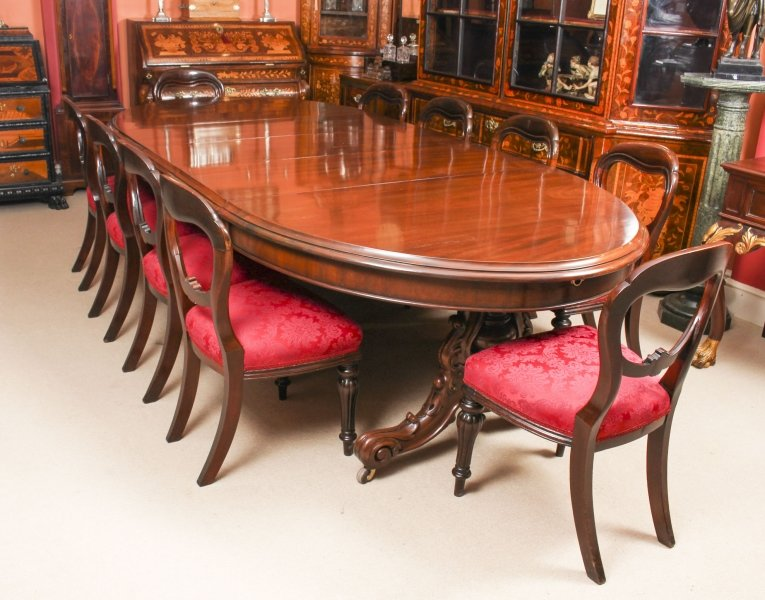 Antique Victorian Mahogany Twin Base  Dining Table &10 chairs 19th Century | Ref. no. 09528a | Regent Antiques