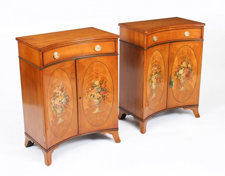 Antique Pair Adam Revival Satinwood Side Cabinets Commodes 19th C | Ref. no. 09536 | Regent Antiques
