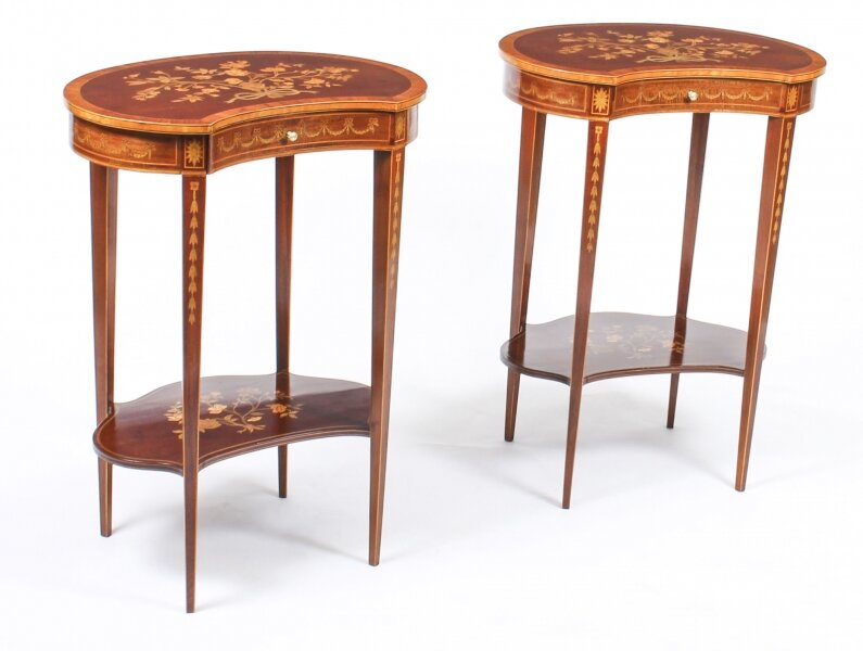 Antique Pair English Marquetry Kidney Shaped Occasionally Tables 19th C | Ref. no. 09538 | Regent Antiques