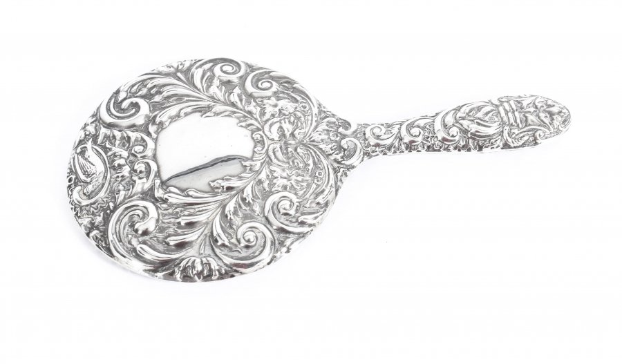 Vintage English Embossed Sterling Silver Hand Mirror Birmingham B&Co 1965 | Ref. no. 09543 | Regent Antiques