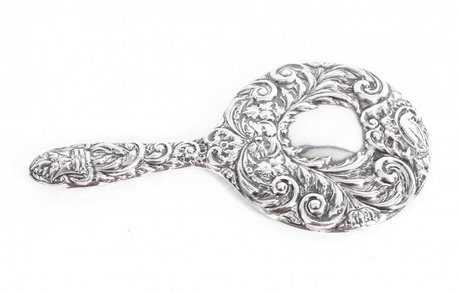 Vintage English Embossed Sterling Silver Hand Mirror Birmingham B&Co 1970 | Ref. no. 09543a | Regent Antiques