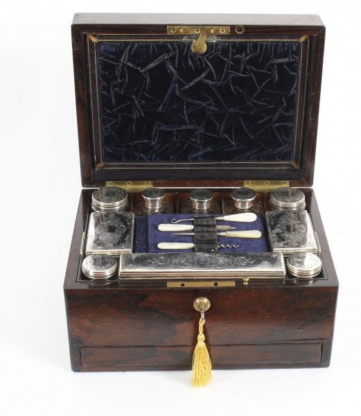Antique Victorian Rosewood & Sterling Silver Travelling Dressing Case 1861 19thC | Ref. no. 09545 | Regent Antiques