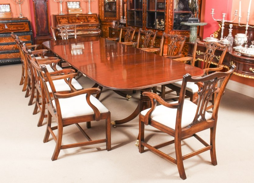 Antique George III Regency  Dining Table C1820 19th C with 10 Dining Armchairs | Ref. no. 09556b | Regent Antiques