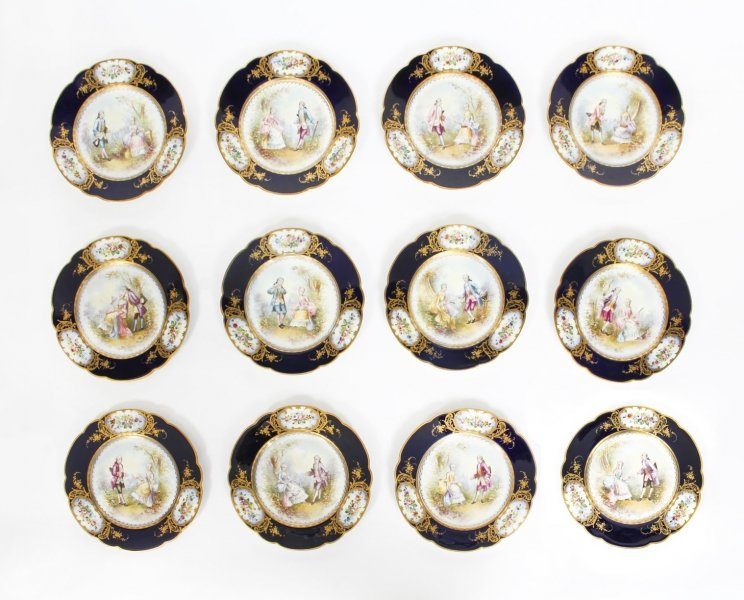 Antique French Sevres Chapuis Hand-Painted Porcelain Gilt Set 12 Plates 18th C | Ref. no. 09577 | Regent Antiques
