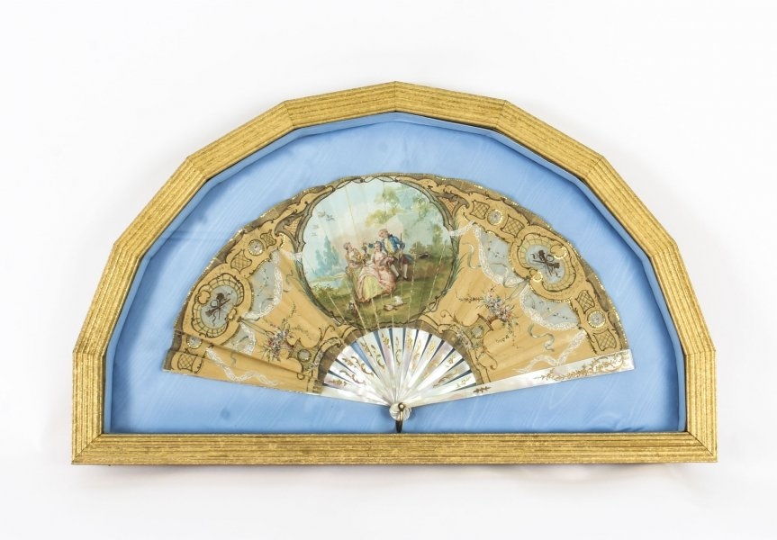 Antique English Victorian Hand Painted Mother Pearl Fan with Gilded Frame 19th C | Ref. no. 09579 | Regent Antiques