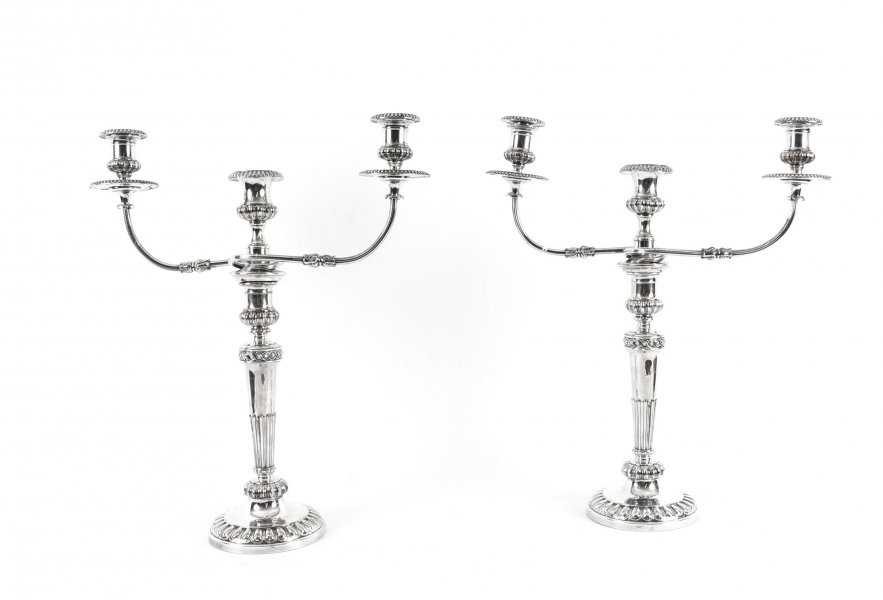 Antique Pair George IV  3 Light Old Sheffield Candelabra C1830  19th C | Ref. no. 09631 | Regent Antiques