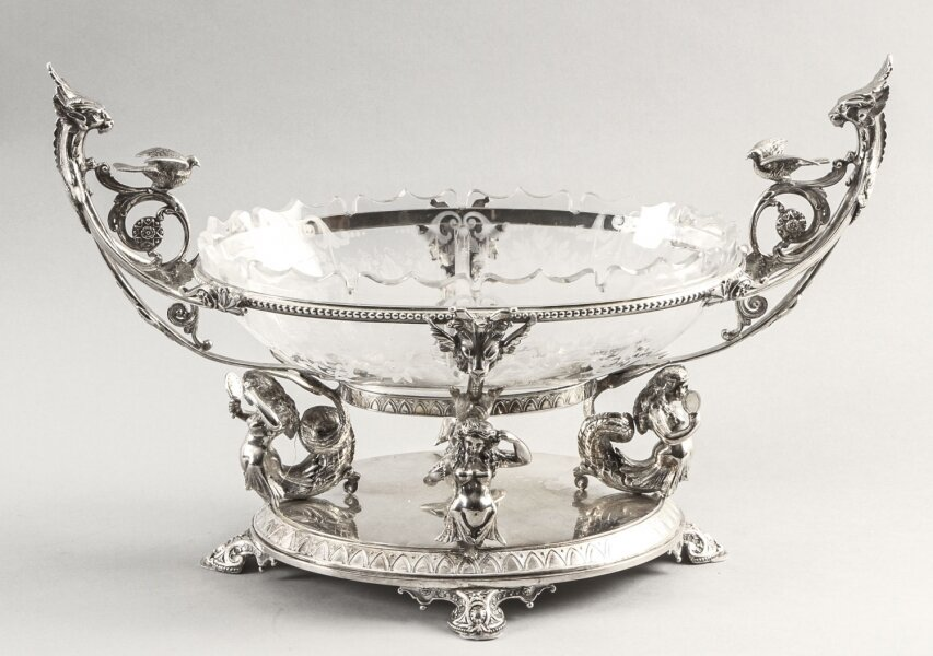 Antique Victorian Silverplate Centrepiece Glass Henry Wilkinson & Co 19th C | Ref. no. 09632 | Regent Antiques