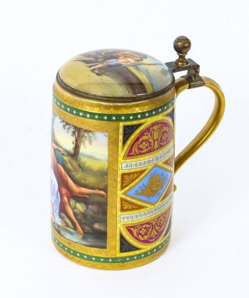 Antique Vienna Porcelain Lidded Tankard with Amor and Psyche  19th Century | Ref. no. 09669 | Regent Antiques