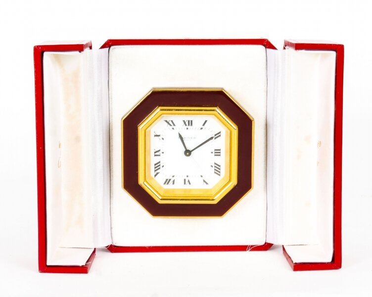 Les Must de Cartier Paris Cased Maroon & Gilt Desk Alarm Clock C1990 | Ref. no. 09716 | Regent Antiques