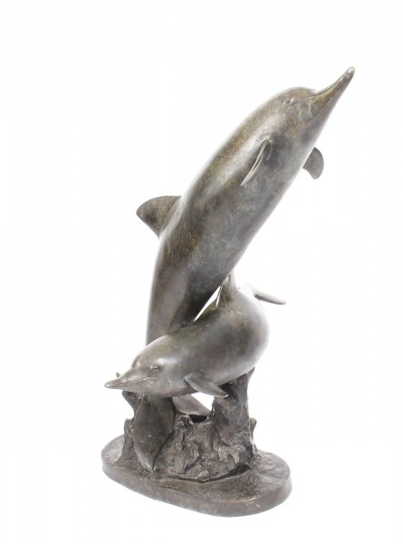 Vintage Bronze Statue of Two Dolphins Riding the Waves Late 20th C | Ref. no. 09747a | Regent Antiques