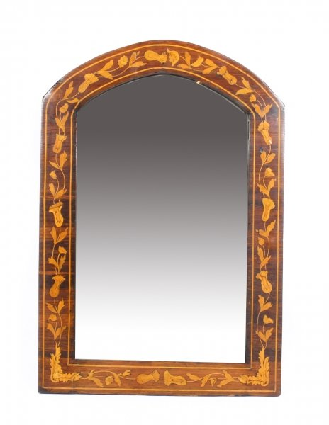 Antique Dutch Flame Mahogany & Floral Marquetry Wall Mirror 19th Century | Ref. no. 09748 | Regent Antiques