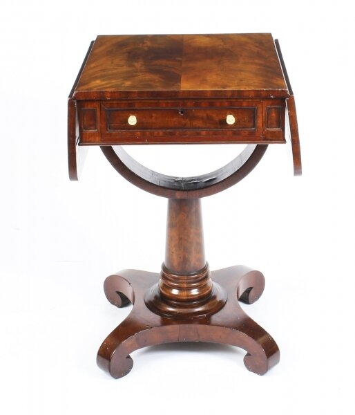 Antique William IV Flame Mahogany Drop Leaf Work Table c.1830 19th Century | Ref. no. 09750 | Regent Antiques