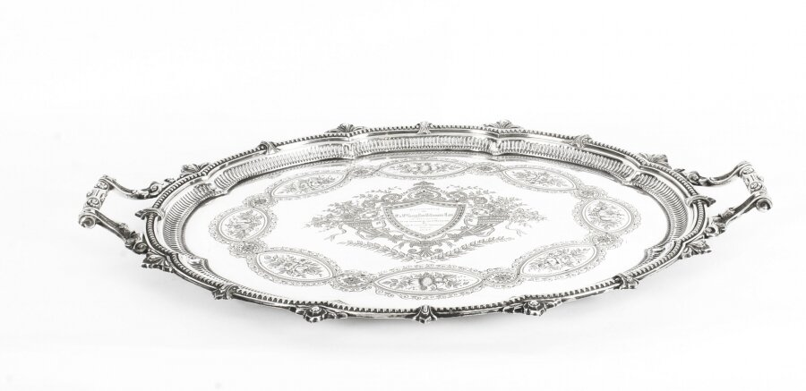 Antique Victorian Oval Silver Plated Tray by Mappin & Webb C 1880 19th Century | Ref. no. 09753 | Regent Antiques
