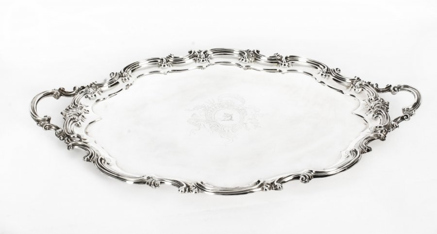 Antique Victorian Oval Silver Plated Tea Tray by Elkington  19th Century | Ref. no. 09767 | Regent Antiques